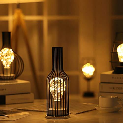 ACHICOO Retro LED Black Iron Art holle koperdraad tafellamp nachtlampje warm witte fles rode wijn