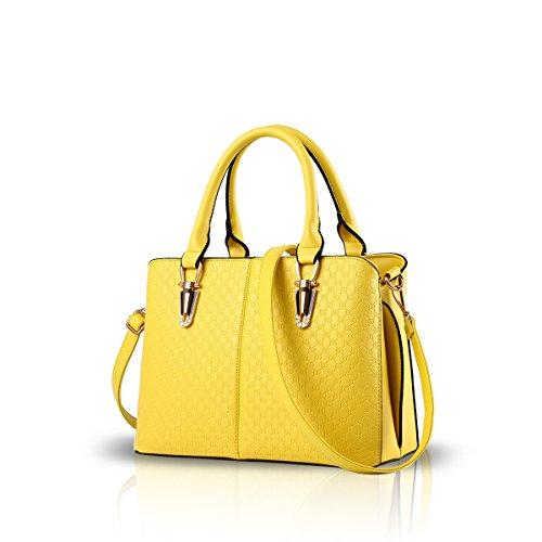NICOLE&DORIS bolsos retro tendencia de la moda femenina del bolso grande del bolso de la bolsa de mensajero de hombro ocasional para las mujeres(Yellow) (Zapatos)
