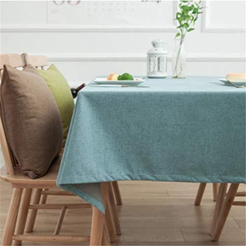 DJUX Mantel Simple para Sala de reuniones de Oficina Mantel de algodón y Lino de Color sólido Mantel Rectangular Impermeable para Mesa de café 130x180cm