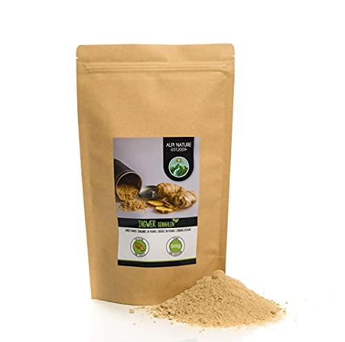 Jengibre en polvo (500g), jengibre molido, especia 100% natural, suavemente secado y molido, vegano y sin aditivos