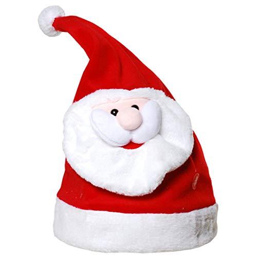 Tanzende Mütze mit Musik Merry Christmas Nikolausmütze Weihnachtsmannmütze Weihnachtmuetze Wackelnde Zipfelmütze