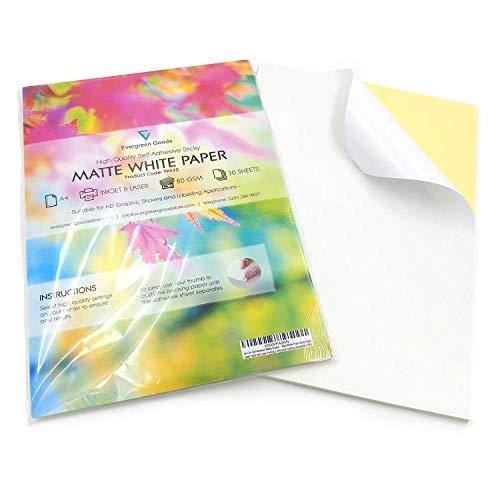 EVG Home & Office Supplies 50 Fogli di Carta autoadesiva di qualità, Formato A4, Colore Bianco Opaco, per Stampa di Etichette