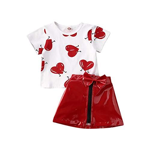 Love Days - Conjunto de ropa para bebé y niña con estampado de amor, camiseta, falda de cuero, traje de verano de 0 a 5 años