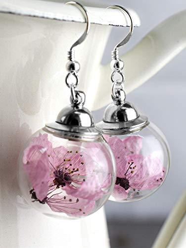 Kirschblüten Ohrringe Hängend - Silber 925 Sterling - Echte Blüten Ohrhänger - Handgemacht