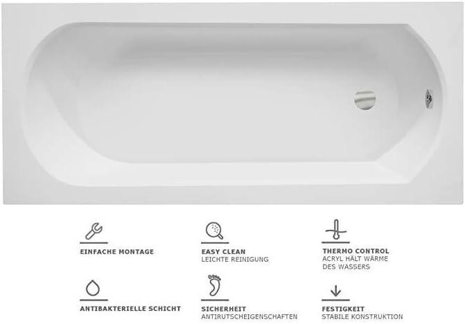 VBChome Badewanne 150x75 cm Acryl SET Sch/ürze Siphon Wanne Rechteck Wei/ß Design Modern Ablaufgarnitur in Chrom Viega Simplex