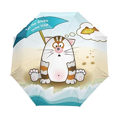 Sueño Hecho Realidad Pez Gato Paraguas Plegable Hombre Automático Abrir y Cerrar Antiviento Ligero Compacto Paraguas para Viajes Playa Mujeres Niños Niñas