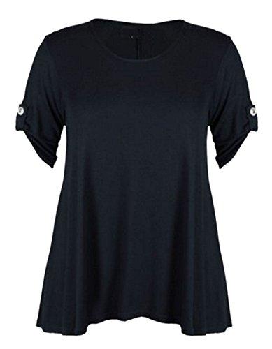 WearAll - Haut évasé à manches courtes - Pour femme - Grandes tailles - Taille 36 à 28 - Noir - 20