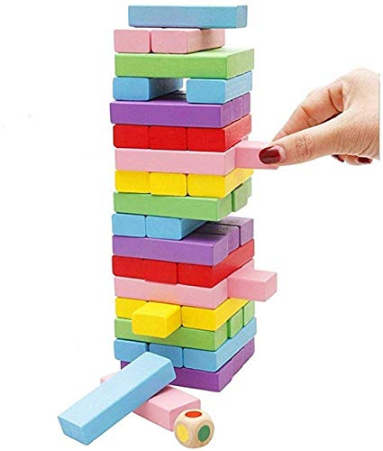 JP Enterprise 54 Pcs 1 Dice Challenging Color Wooden Blocks Tumbling Stacking Wooden Building Blocks Game for Adults and Kids-Multi (Color Wooden Building Blocks)