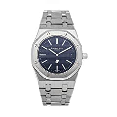 "Audemars Piguet Royal Oak ""Jumbo"" Extra-Thin (15202STOO1240ST01) self-winding automatic watch features a 39mm stainless steel case surrounding a blue Petite Tapisserie dial on a stainless steel bracelet with folding buckle. Functions include hours mi..."