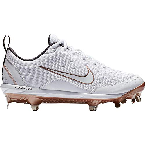 Nike New Womens Hyperdiamond 2 Pro Metal Softball Cleats White/Gold Sz 8 M