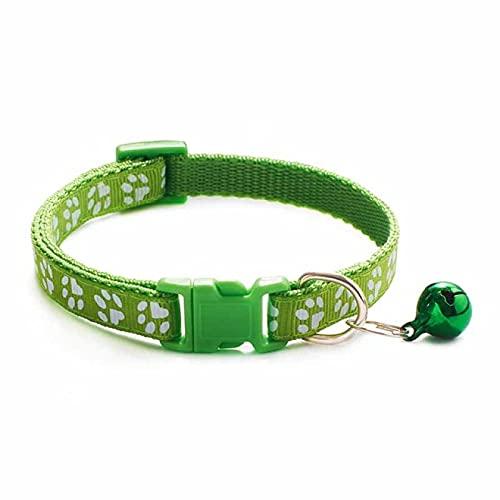 Collar de perro lindo gato campana collar para gato perro collar dibujos animados divertido huella collares ajustable correa de nylon