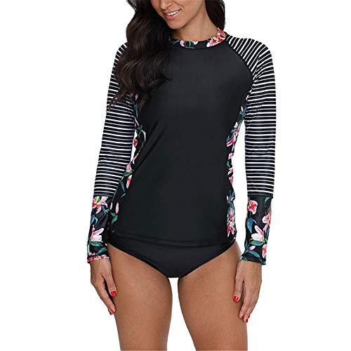 Damen Schwimmshirt Langarm Rundhals Athletic Swim Shirt Drucken Streifen Sets Badeanzug Strand Badeshirt Sommer neu M