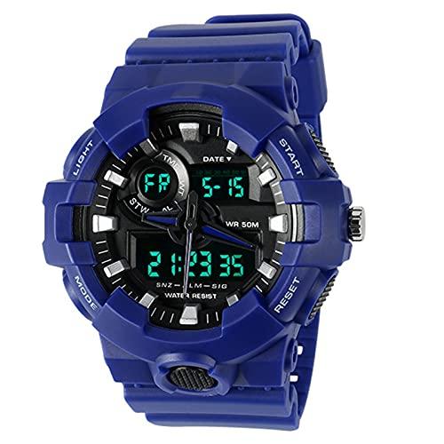 WNGJ Relojes para Hombres Deportes Electronic LED Cronómetro Reloj de Pulsera Digital Relojes de los Hombres tácticos Deportes Militares Electrónico Impermeable Digital A Blue