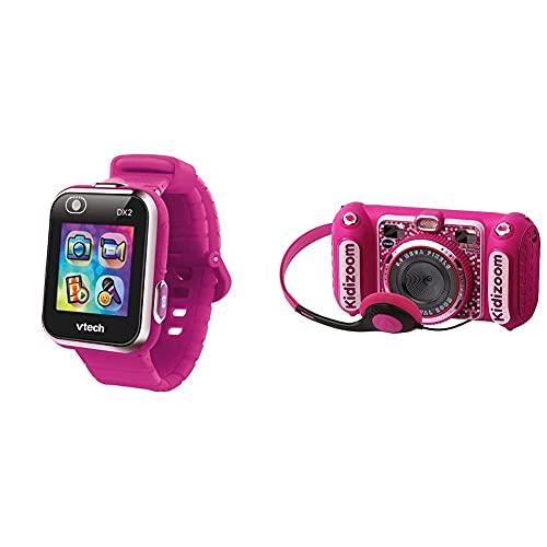 Vtech Kidizoom Smart Watch Dx2, Reloj Inteligente para Niños, Doble Cámara De Fotos + Kidizoom Duo DX Cámara Digital para Niños, Color Rosa (3480-520057)