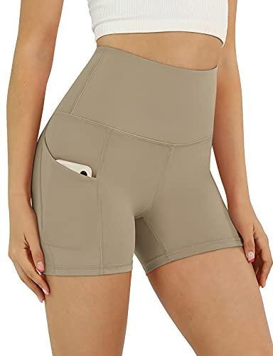 ODODOS Women's 5' High Waist Biker Shorts with Pockets, Tummy Control Non See Through Weokout Sports Athletic Running Yoga Shorts, DarkBeige, Large