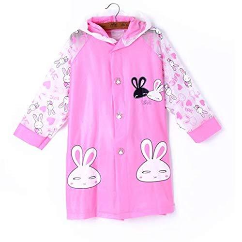Tree-on-Life Koreanische niedlichen Cartoon Kinder Baby Poncho mit aufblasbaren Hut Seite Jungen und Mädchen Regenmantel + Pink Rabbit mit Bag + 2XL