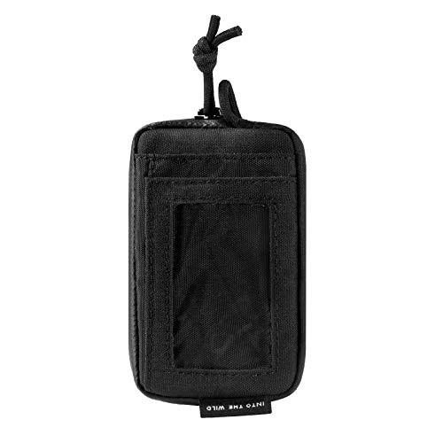OneTigris Front Pocket Mini Wallet with Waterproof Zippers CASSETTE EDC Pouch 500D Nylon (Black)