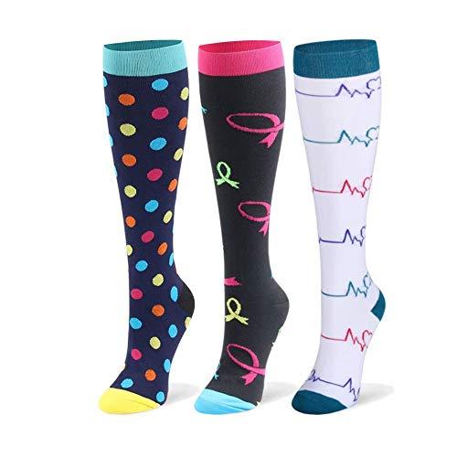 DRESHOW Calcetines de Compresión para Hombres y Mujeres 3/7 Pares 15-20 mmHg es el Mejor para Running, Correr, Senderismo, Volar, Viajar, Varicosas, Médico, Deportivo, Embarazo ⭐