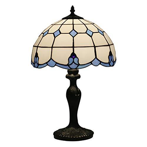 Tiffany stijl bureaulamp gekleurd glas tafel licht blauw wit barok stijl W12 inch naast leeslamp voor woonkamer slaapkamer dressoir boekenkast salontafel