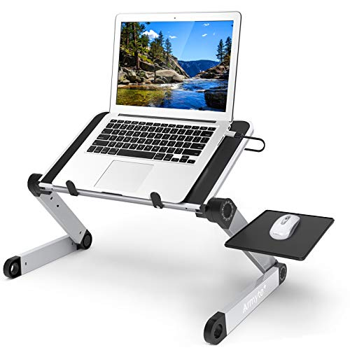 Laptop Stand Adjustable Height for Desk, Portable Lap Table with Cooling Fan & Mouse Pad for 15.6 Inch Notebook Lightweight Foldable Computer Riser for Couch Bed Sofa Home Office