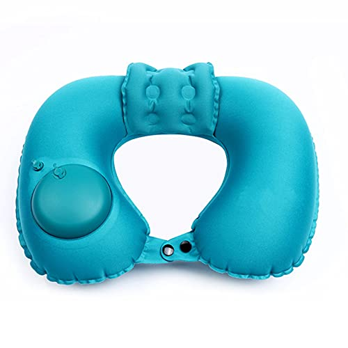 Ultralight Inflatable Camping Travel Neck Pillow,Compressible, Compact,Comfortable,Ergonomic Inflating Pillows for Neck&Lumbar Support While Beach,Office,Traveling,Backpacking (U Shape, Peacock Blue)