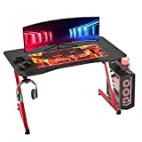 HOMCOM Mesa Gaming para Ordenador PC Escritorio de Oficina con Portavasos Gancho para Auriculares y Pies Ajustables 120x65x74,5 cm Rojo