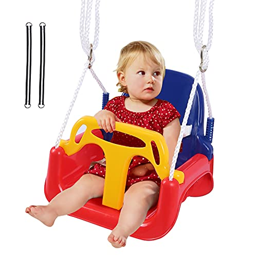 REDCAMP 3 in 1 Toddler Swing Seat for Outside Tree, Sturdy Secure Infants to Teens Outdoor Baby Swing Seat for Swing Set Playground Inside, Red