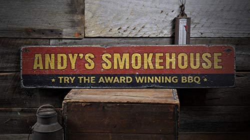 Xuanwuyi 11,4 x 50,8 cm preisgekröntes BBQ Schild, Custom Smokehouse Schild, Geschenk für Papa, Smokehouse Dekor, Grill-Dekoration, rustikal, handgefertigt, Vintage Holzschild, Dekorationen