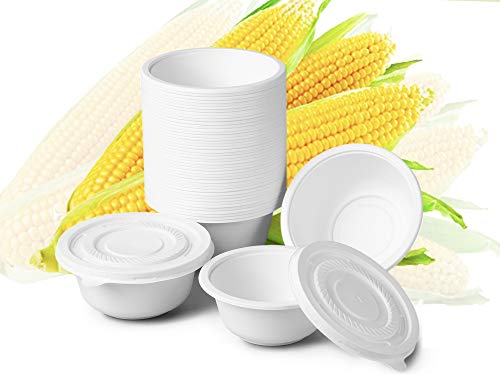 Disposable Bowls with Lids, 24 Oz, Set of 50 Biodegradable Bowls and Lids, Made of Compostable Eco Friendly Cornstarch, Microwavable, Heavy Duty, Great for Hot Soup, Salad, Ice Cream
