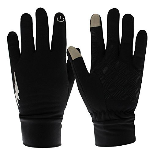 Unisex Touch Screen Gloves - Winter Warm Thermal Gloves Outdoors Gloves Cycling Gloves Running Gloves Cold Weather Gloves Texting Gloves Driving Gloves for Men and Women (Black, L)