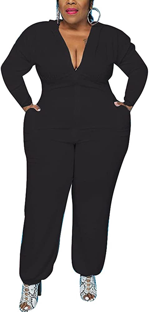 IyMoo Women's Sexy Plus Size Jumpsuits Rompers - One Piece Outfits Long Sleeve Romper with Hood Casual Tracksuit with Zipper