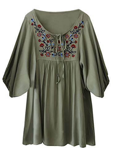 futurino Women's Bohemian Embroidery Floral Tunic Shift Blouse Flowy Mini Dress