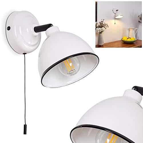 Lámpara de pared Catharine, moderna lámpara de pared de metal en color blanco/negro, 1 foco, 1 x E14 máx. 28 W, con foco ajustable, con interruptor de cordón para encender y apagar, adecuado para led