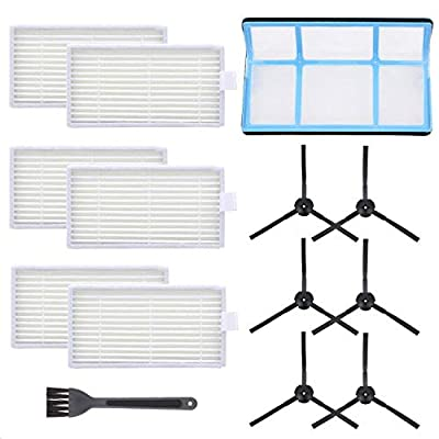 Mochenli Vacuum Filter Kit Replacement for Robotic Vacuum ILIFE V3 V3S V5 V5s, Pro Robot Vacuum Cleaner 6 Filters and 6 Side Brushes and 1 Primary Filter (Pack of 13)