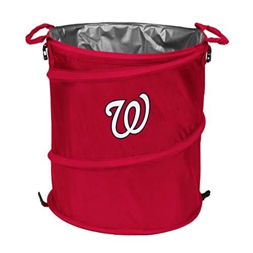 logobrands MLB Washington Nationals Collapsible 3-in-1 Sporting Cooler Trash Can, Red