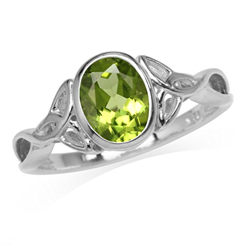 Silvershake 1.44ct. 8X6mm Natural Oval Shape Peridot 925 Sterling Silver Triquetra Celtic Knot Ring Size 8