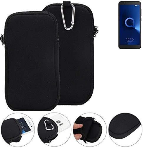 K-S-Trade® Neopren Hülle Für Alcatel 1C Dual SIM Schutzhülle Neoprenhülle Sleeve Handyhülle Schutz Hülle Handy Gürtel Tasche Case Handytasche Schwarz