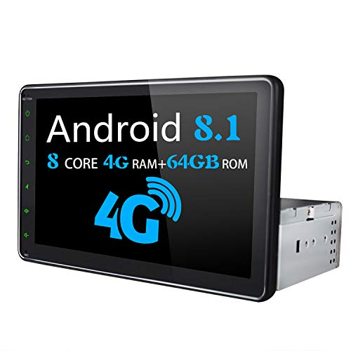 Android Autoradio - JOYFORWA Android 8.1 4GB + 64GB 8 pollici Single Din Car Stereo con 4G SIM Card Slot/Bluetooth/WiFi/DSP/SPDIF/Android Auto/Fast Boot/DVR/Rearview Camera/OBDII