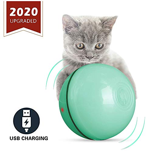 ELEBOOT 2019 Upgrade Vision Smart Interactive Cat Toys Ball,Automatic Rolling Laucher Ball for Kitten, USB Rechargeable Pet Toy, with Spinning LED Light,Wicked 360 Degree Self Rotating Ball (Green)