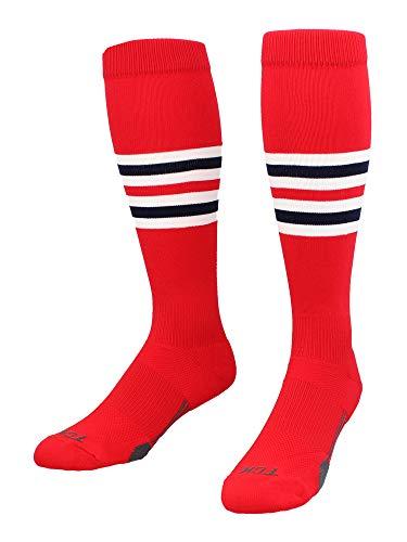 TCK Performance Baseball/Softball Socks (Scarlet/White/Navy, Medium) - Scarlet/White/Navy,Medium