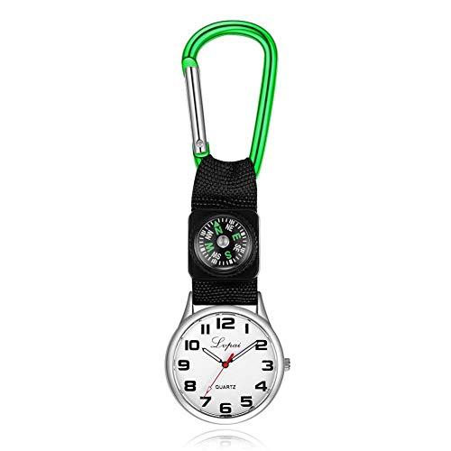 Dilwe Sportuhr, Lässige Multifunktions Kompassuhr mit einem Karabinerhaken an der Taschenlaufuhr für Camping(Grün)