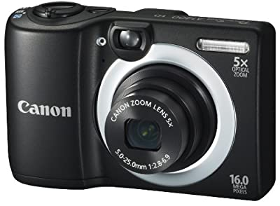 Canon PowerShot A1400 16.0 MP Digital Camera with 5x Digital Image Stabilized Zoom 28mm Wide-Angle Lens and 720p HD Video Recording (Black) (OLD MODEL) by Canon