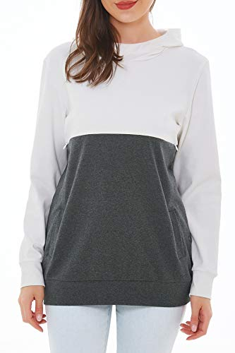 Smallshow Women's Nursing Hoodie Breastfeeding Patchwork Invisible Zipper Tops Medium White-Dim Grey