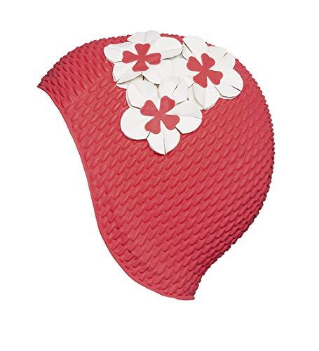 Fashy Damen Luftgefüllte Gummihaube mit Blumen Badehaube, hellrot, One Size