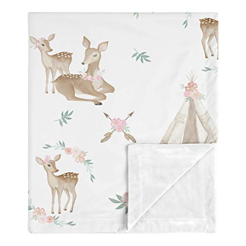 Sweet Jojo Designs Boho Watercolor Woodland Deer Floral Baby Girl Receiving Security Swaddle Blanket for Newborn or Toddler Nursery Car Seat Stroller Soft Minky - Blush Pink, Mint Green and White