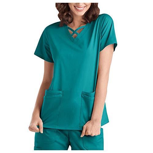 Padaleks Kasack Damen Pflege Einfarbig Bluse T-Shirt Schlupfkasack mit Taschen Kurzarm Rundhals Schlupfhemd Berufskleidung Krankenpfleger Zwei Taschen Uniformen, Pflege Kittel OP-Kleidung