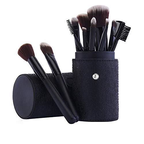 Llxxx Pinceau de Maquillage-Pinceaux cosmétiques Portables pour Poudre Libre, Contour, Teinte, surligneur, Fard à paupières et Fond de Teint, 12 pièces, E