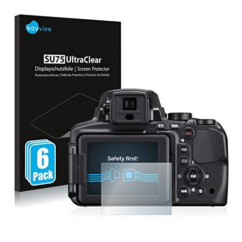 savvies Protector Pantalla Compatible con Nikon Coolpix P900 (6 Unidades) Pelicula Ultra Transparente