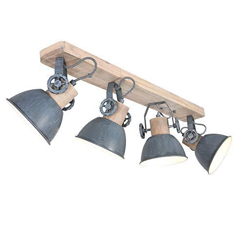 Retro Decken Lampe Strahler verstellbar Wohn Zimmer Holz Spot Leuchte grau Steinhauer 2729GR