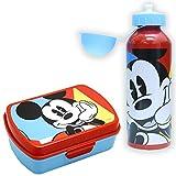 SKYLINE, Set Sandwichera y Cantimplora, Mickey Mouse, para Almuerzo Infantil, Botella de Aluminio con Fiambrera de plástico para Niños, Vuelta al Cole 2 Pcs